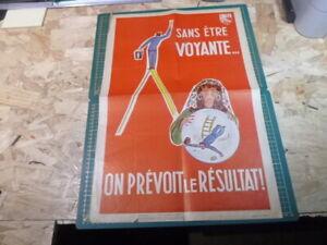 Affiche-Serigraphie-Prevention-Securite-accident-50-039-s-AINF-RARE-Voyante