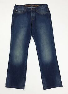 Harley-davidson-jeans-uomo-usato-denim-W32-tg-46-gamba-dritta-boyfriend-T4686
