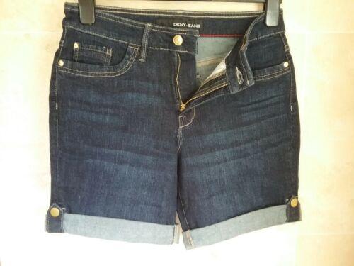DKNY Ladies Roll Up Denim Shorts Black or Dark Blue  sizes  uk 8-12 BNWT