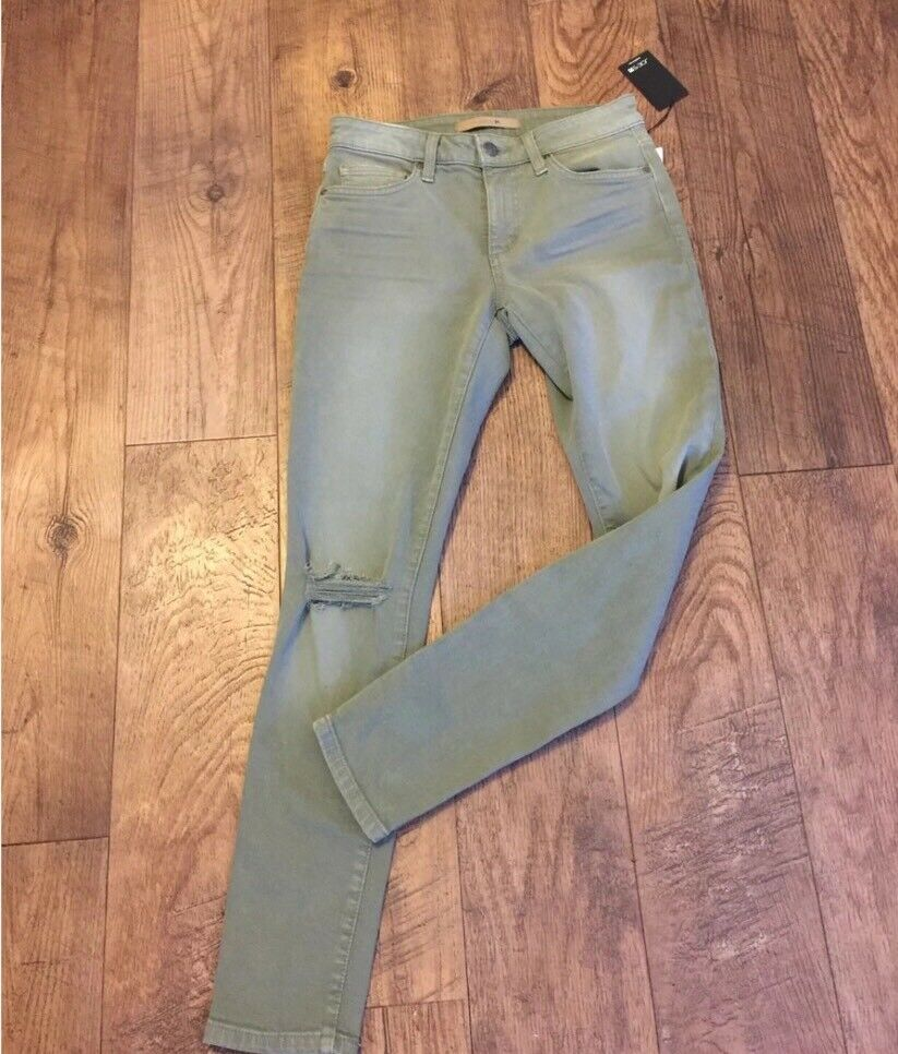 NWT Joe's Jeans 26 Ankle Skinny Light Olive Green Distressed Mid Rise
