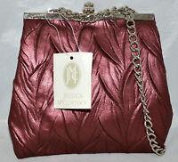 Jessiica Mcclintock Purple Berry Leaf Designed Evening Bag With Chain Strap