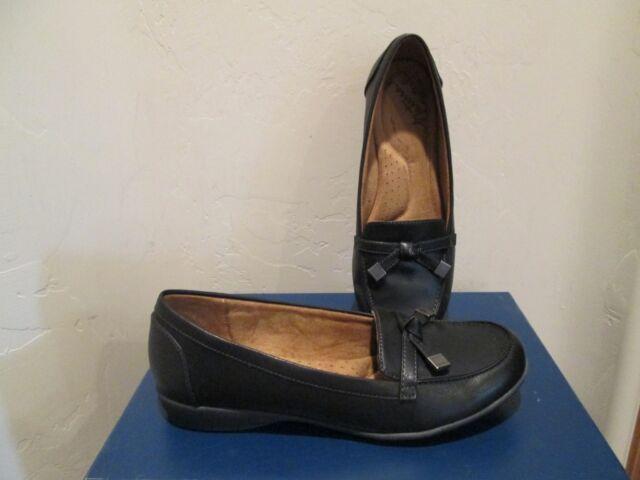 6251d9e84ad Natural Soul Gracee All Thru Comfort Loafer  moc Black Womens Shoes Sz 7