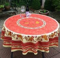 Tischdecke Provence 180 cm rund terra aus Frankreich, pflegeleicht und bügelfrei