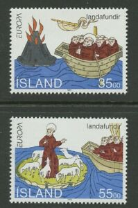 Voyages of St. Brendan mnh 2 stamps 1994 Iceland #780-1 Monks Boat Volcano Sheep