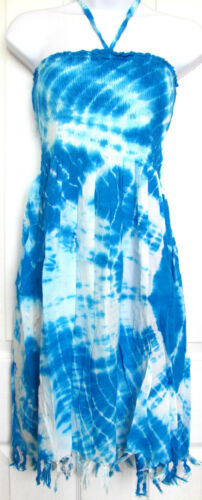 Womens Smocked Halter Sundress Aqua Blue Fringed Tie Dye One Size Fits Most