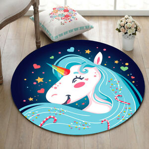 Happy Cartoon Unicorn Girl Round Carpet Baby Room Area Rugs Home