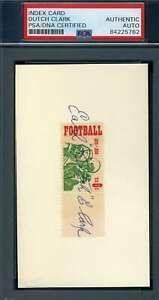 Dutch Clark PSA DNA Autograph Hand Signed 3x5 1969 USPS Football Stamp Index Car