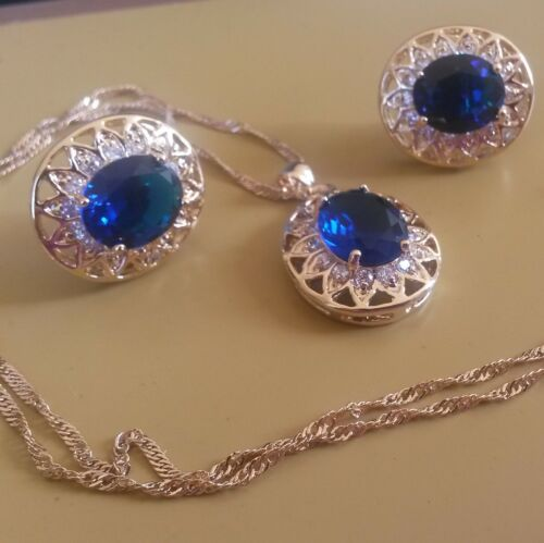 Diamante Gold GF Matching Oval Cut Necklace Earrings PlumBOXD SET Blue Sapphire