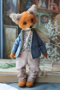 Teddy-Handmade-Interior-Toy-Collectable-Gift-Animal-Doll-OOAK-Fox-Decor