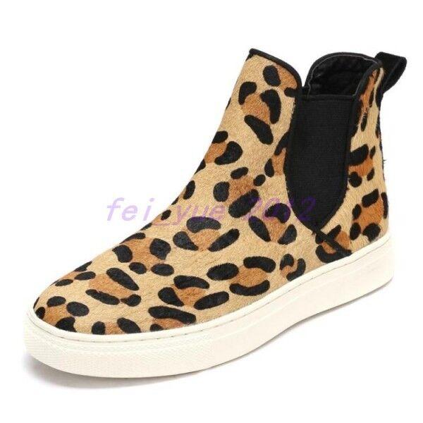 Hot donna Fashion Leopard High Top scarpe da ginnastica Flats Creeper Sports Walking scarpe