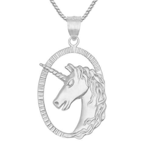 Sterling Silver UNICORN Pendant / Charm, Made in USA, 18 Italian Box Chain