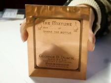 Antique GEORGE DIACK Chemist BUCKSBURN Bottle Label Copper Printers Plate #79