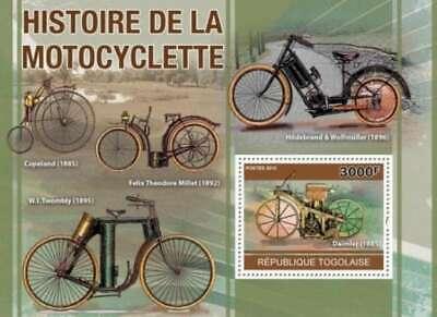 Einfach Togo - Antik Motorräder - Briefmarke Souvenir Blatt - GläNzend