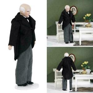 1//12 Dollhouse Miniature Porcelain Doll Model Old Man Servant Butler Shopkeeper