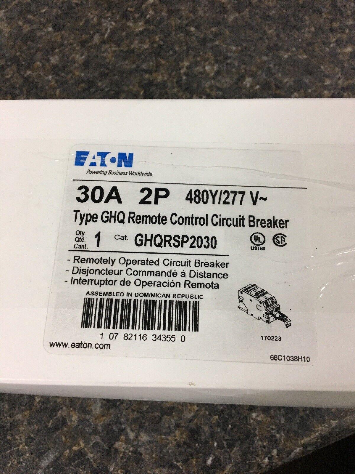 Eaton Cutler Hammer Ghq Remote Control Circuit Breaker 2p 30 Amp Square D Controlled 20 1 Pole 277v Ghqrsp2030 Ebay