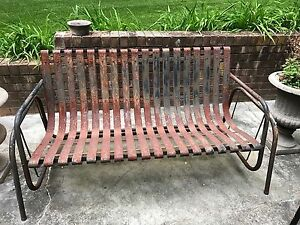 Vintage Metal Outdoor Patio Glider Sofa/ Bench - Rustic & Chippy | eBay