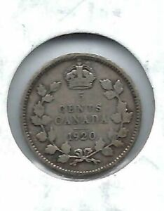 1920-Canadian-Circulated-George-V-Silver-Five-Cent-Coin