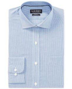 NEW-LAUREN-RALPH-LAUREN-BLUE-PINSTRIPED-SLIM-FIT-STRETCH-DRESS-SHIRT-15-5-34-35
