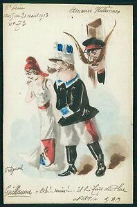 art Roberty Italy France Kaiser Political caricature 1913 hand painted postcard