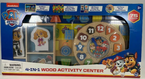 Paw Patrol 4-In-1 Wood Activity Center 75 Piece Set By Spin Master New