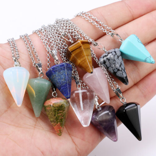 Natural Stone Hexagonal Column Pendant Necklace Cone Woman Crystal Accessories