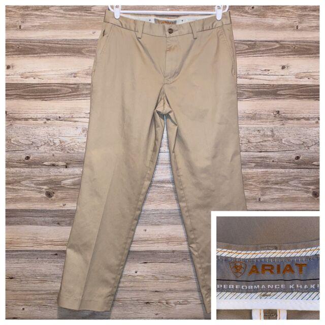 Ariat Performance Khaki Work Mens Pants Size 34 x 32 Rubber Grip Waist 5 Pocket