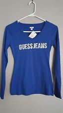 Guess Shirt Logo Blouse Cobalt Blue Top XS 0 - NWT