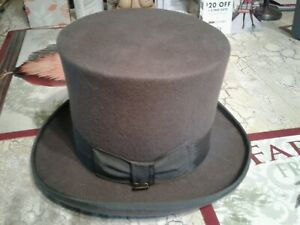 ee1378a55 Details about SCALA CLASSICO Men's Mad Hatter VINTAGE GRAY Top Hat Sz: S, 6  7/8