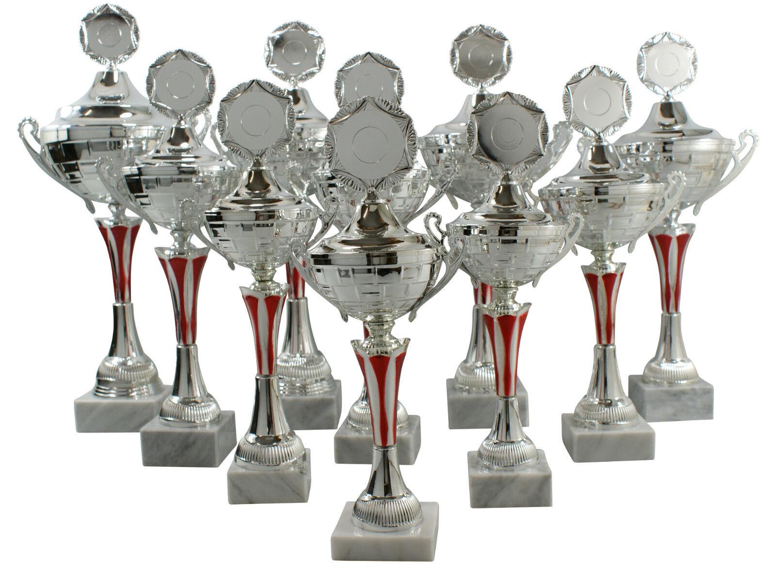 Pokale mit Henkel Henkel Henkel 10er Serie silber rot  34cm - 49cm     | Neuer Eintrag  1ef55a