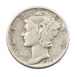 Monnaie-de-Collection-en-Argent-USA-10-cent-Mercury-Dime-1939-Philadelphie