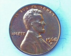 1968-D Lincoln Cent Penny Red DDO Doubled Die Obverse Mint ERROR