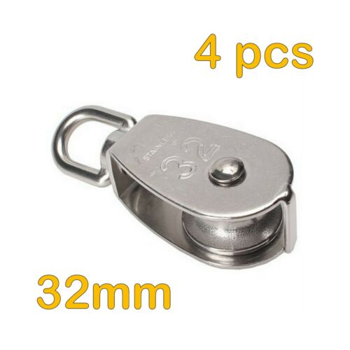 4pcs STAINLESS STEEL 32mm SINGLE PULLEY BLOCK ROPE CHAIN LIFTING SHEAVE