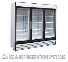 Sun Ice Commercial 72cf 3 Glass Door Merchandiser Cooler Refrigerator SI3-72RB