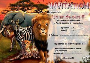 Carte Anniversaire Animaux.Details Sur 5 Ou 12 Cartes Invitation Anniversaire Animal Animaux Elephant Lion Ref 274