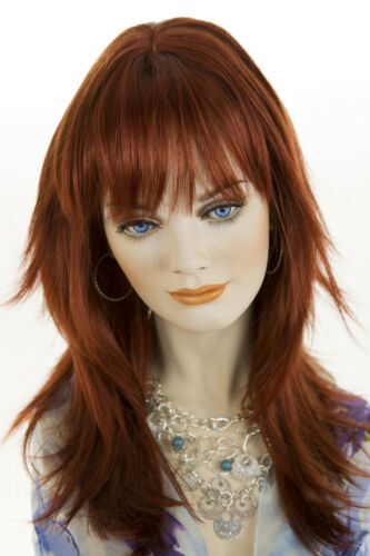 Fox Red (Clear Cool Vivid Red) Red Long Medium Skin Top Straight Wigs
