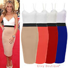 NEW LADIES WOMENS CELEBRITY CONTRAST PANEL PENCIL STRAPPY BODYCON MIDI DRESS