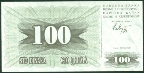 BOSNIA 100  DINARA 1992 P 13  LOT 2  PCS  Uncirculated Banknotes