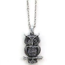Burnished Silver Vintage Style Black Eyes Owl Bird Animal Charm Pendant Necklace
