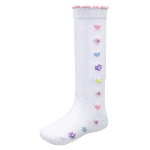 Soft Touch Cotton Rich Knee High Socks Baby Girl Heart Flower Pattern  0-12M