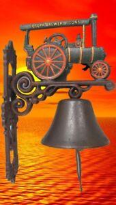 Wandglocke Gußeisen Dampftraktor H.38cm Gescher Klingt Gut Tür Klingel Wand Deko Jade Weiß Transport
