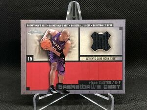 2002-03-Fleer-Showcase-Basketball-039-s-Best-Memorabilia-Vince-Carter-JERSEY-Bgs-Psa