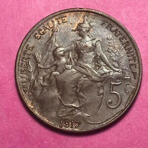 #308 - Rare - 5 Centimes 1917 Dupuis Ttb+/sup - Facture Achat SpéCial
