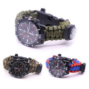 New-Outdoor-Paracord-Survival-Watch-Bracelet-With-Flint-Fire-Starter-Compass-QE