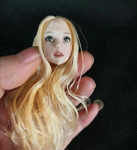 1//6 Girl Anime Loli Female Head Carving Long Blonde Hair Figure F 12/'/' Pale Body