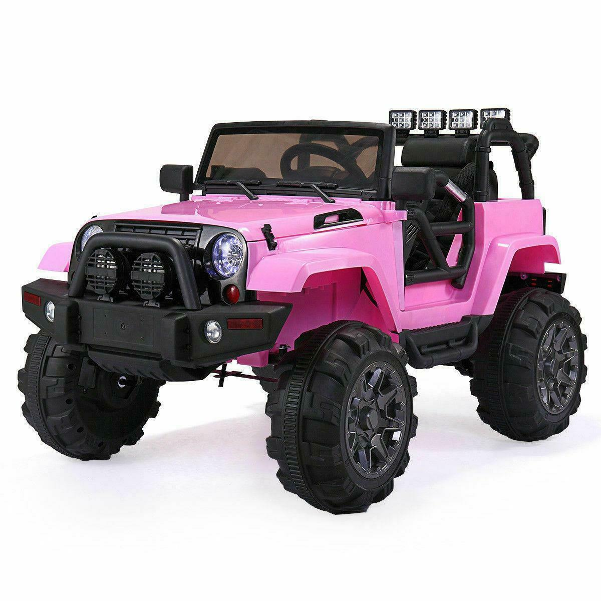 Kids Jeep Style Ride On Car 12V Electric Wheels w/ Remote Control MP3 LED Pink