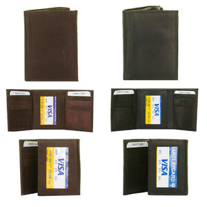 DBFL-Men-039-s-Genuine-Leather-Solid-ID-Window-Trifold-Wallet