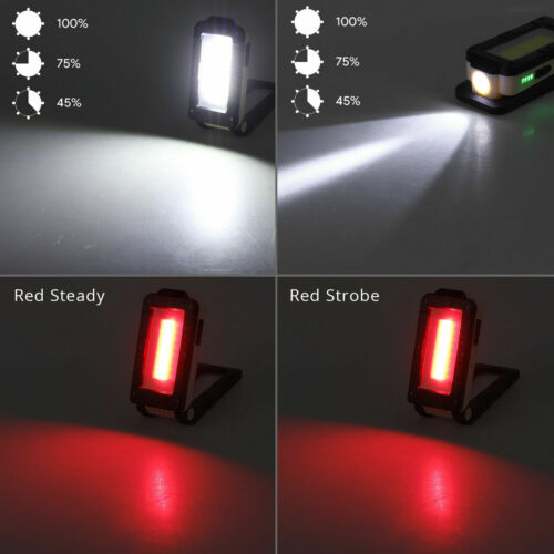Ultra Bright Inspection LED+COB Work Light Torch USB Rechargeable Magnetic Lamp