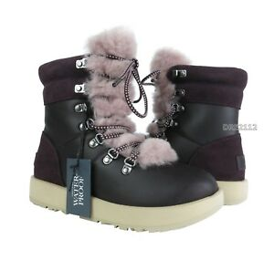 8091f815a3f Details about UGG Viki Waterproof Port Purple Leather Fur Boots Womens Size  7 ~NIB~