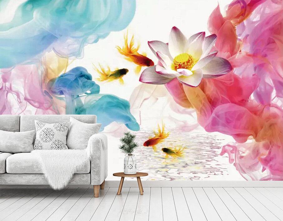 3D goldfish Pond 45 Wall Paper Exclusive MXY Wallpaper Mural Decal Indoor wall