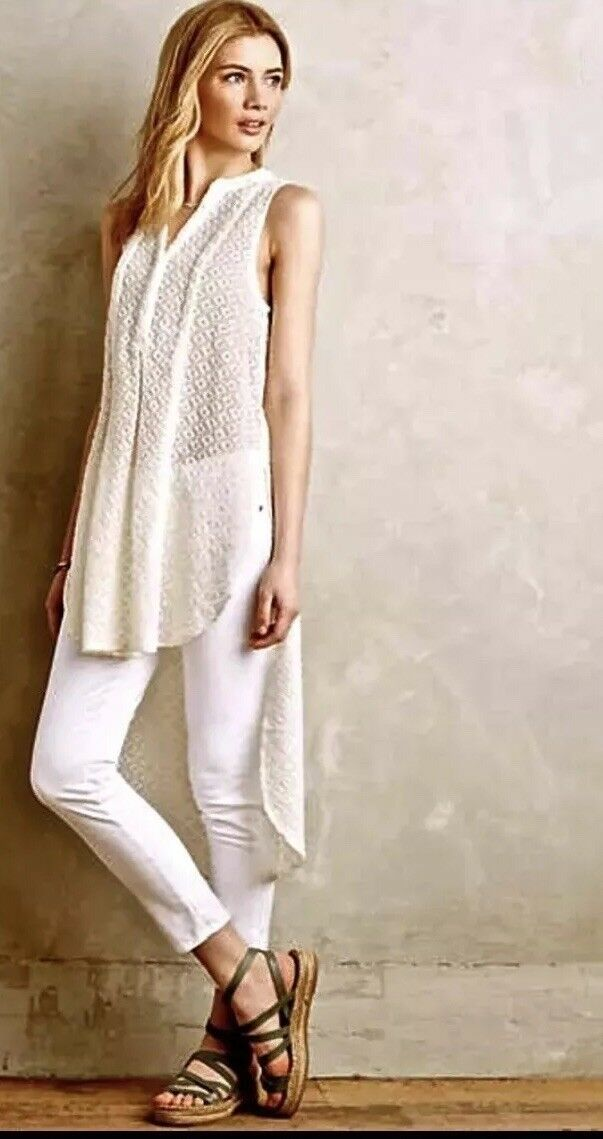 Anthropologie HD in Paris Tunic Small Ivory embroidered panel tunic high low NWT